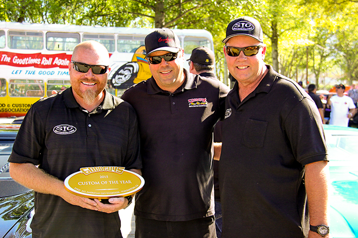 -Builder Scott Laitinen (left), Goodguys President Marc Meadors (center) and owner of the 1956 Lincoln Continental II David Hoekstra celebrate the big win in Pleasanton.