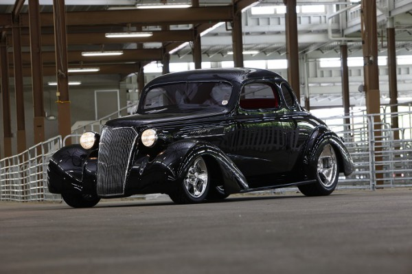 3/4 Front shot of Chuck Rowe's 1937 Chevrolet Coupe by Bobby Alloway (Alloway's Hot Rod Shop) – winner of the Goodguys 2015 Classic Instruments Street Rod of the Year
