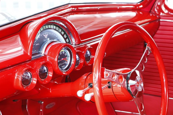 Dash panel of Chuck Rowe's 1937 Chevrolet Coupe by Bobby Alloway (Alloway's Hot Rod Shop) – winner of the Goodguys 2015 Classic Instruments Street Rod of the Year